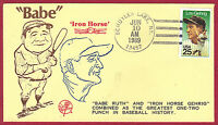 1989 25C LOU GEHRIG, BASEBALL 2417, FDC, NEW YORK YANKEES, UNOFFICIAL CANCEL