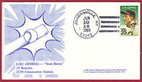 1989 25C LOU GEHRIG, BASEBALL 2417, FDC, UNIDENTIFIED, UNOFFICIAL