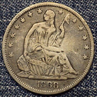 1868 S SEATED LIBERTY HALF DOLLAR F COIN