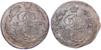 5 KOPEKS 1771 EM AND 1772 EM RUSSIAN EMPIRE COIN. CIRCULATED AND COPPER