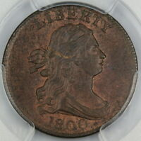 1800 DRAPED BUST HALF 1/2 CENT PCGS MINT STATE 63 BN MELLOWED RED BETTER COIN DGH