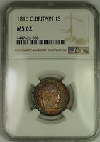 1816 GREAT BRITAIN GEORGE III SILVER SHILLING 1S COIN NGC MS 62 NICELY TONED
