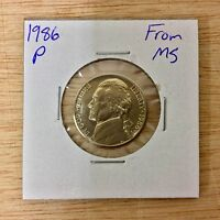 1986 P FROM MS JEFFERSON NICKEL LOTE 054