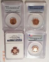 LOT OF 4 LINCOLN CENTS 1994 S  2006 S  2014 S  2015 S  PCGS/NGC PR69RD DCAM