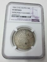 1866 S NO MOTTO SEATED HALF DOLLAR NGC VF DETAILS KEY DATE 60K MINTED