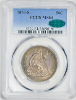 1870 S LIBERTY SEATED 50C PCGS MS 64