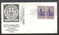 US FDC 1939 300TH ANNIV OF PRINTING IN COLONIAL AMERICA 3C FIRST DAY COVER NY