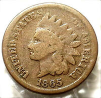 1865 INDIAN HEAD CENT. BOLD FULL DATE. GOOD RIMS. ATTRACTIVE EARLY US COIN. 126