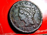 1843 BRAIDED HAIR EARLY COPPER LARGE CENT 2