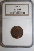 1865 MINT STATE 66 RB TWO CENT NGC 2C