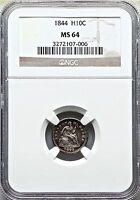 1844 H10C LIBERTY SEATED HALF DIME NGC MINT STATE 64 SEMI KEY MINTAGE 430,000 POP. 54