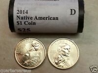 HEAD/ TAILS  2014 D BU SACAGAWEA NATIVE AMERICAN GOLD $25 DOLLAR ROLL