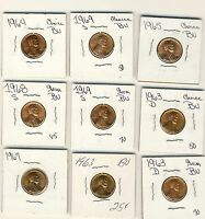 9 1960S HIGH GRADE HAND PICKED BU LINCOLN CENTS ASSORTMENT 3 UNCIRCULATED