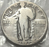 1927 STANDING LIBERTY QUARTER. VG  GOOD. US 90 SILVER COIN. FULL DATE. 401