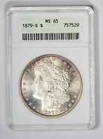1879-S SILVER MORGAN DOLLAR ANACS MINT STATE 65, LUSTER, LUSTER, LUSTER