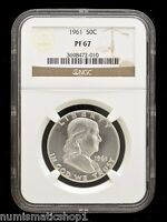 1961 FRANKLIN HALF DOLLAR - NGC PF 67 - BEAUTIFUL 50 PROOF COIN