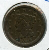 1849 P LARGE CENT 1C BRAIDED LIBERTY PENNY NICE FINE FV GRADE AA306
