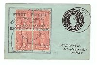 US SMALL COVER FIRST FLIGHT DATED 1928 FRANKED W/ U442 & BLOCK OF  561