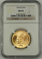 1910 D INDIAN TEN DOLLAR $10 EAGLE GOLD COIN NGC MS 66 GEM BU UNC