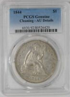 1844 SEATED LIBERTY DOLLAR $ AU DETAILS PCGS