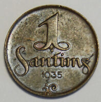 LATVIA 1935 1 SANTIMS KM  1