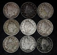 LOT OF 9 LIBERTY V NICKELS, GOOD OR BETTER, 1897, 1898, 1899, 1904 ETC. LOT 40