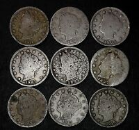 LOT OF 9 LIBERTY V NICKELS, GOOD OR BETTER, 1897, 1898 ETC. LOT 37