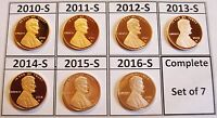 ALL 7 PROOF SHIELD CENTS DCAMS 2010 S 2011 S 2012 S 2013 S 2014 S 2015 S 2016 S
