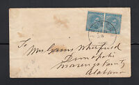 UNITED STATES - CONFEDERATE SC6 PAIR ON COVER, JUN 26, JACKSON,MISS TO ALABAMA