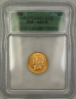 1888 NEWFOUNDLAND $2 TWO DOLLAR GOLD COIN ICG AU 55