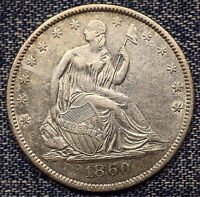 1860 O SEATED LIBERTY HALF DOLLAR AU COIN WITH MINT LUSTER
