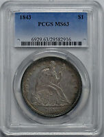 1843 LIBERTY SEATED S$1 PCGS MS 63