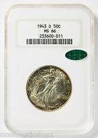 1943-D WALKING LIBERTY HALF DOLLAR, NGC MINT STATE 66 CAC, OLD FATTY' HOLDER