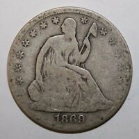 1869 S SEATED SILVER HALF R29