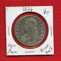 1826 CAPPED BUST SILVER HALF DOLLAR 70650 NICE COIN US MINT  KEY DATE ESTATE