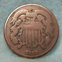 1868 TWO CENT PIECE  CIRCULATED US COIN 618