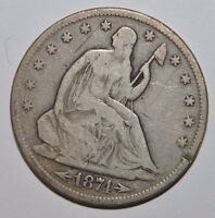 1874 S ARROWS AT DATE SEATED LIBERTY HALF DOLLAR