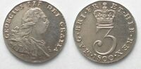 ENGLAND GREAT BRITAIN MAUNDY 3 PENCE 1800 GEORGE III SILVER XF  96647