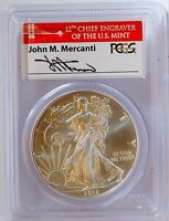 2012 S $1 AMERICAN SILVER EAGLE PCGS MS69 JOHN M. MERCANTI SIGNED FIRST STRIKE