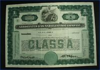 1932 ASSOCIATED GAS AND ELECTRIC CO. N.Y. 1 SHARE STOCK CERTIFICATE