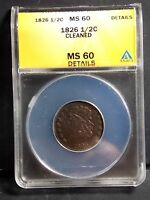 1826 CLASSIC HEAD EARLY COPPER HAFL CENT ANACS MS60 DETAILS CLEANED