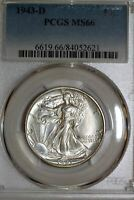 ONE WHITE 1943-D WALKING LIBERTY HALF PCGS GRADED MINT STATE 66 84052621