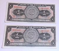 MEXICO JUL 22 1970 LOT OF 2   ONE PESO   CONSECUTIVE NUMBERS W295866   67  BII