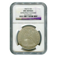 CERTIFIED SEATED LIBERTY DOLLAR 1860 O UNC DETAILS NGC