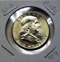 1961 D FRANKLIN SILVER HALF DOLLAR CHOICE BU BLAST WHITE BEAUTY 09