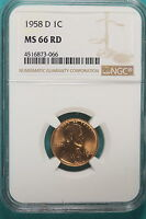 1958 D NGC MS66 RED LINCOLN WHEAT CENT A9228