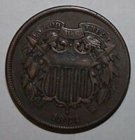 1864 US 2 CENT COIN XC15