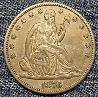 1876 CC SEATED LIBERTY HALF DOLLAR AU COIN WITH MINT LUSTER