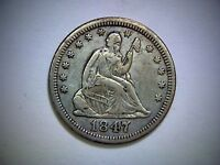 1847  LIBERTY SEATED QUARTER  OLD UNITED STATES SILVER QUARTER