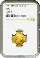 1804 $2 1/2 NGC AU58 14 STAR REVERSE BD 2  EARLY QUARTER EAGLE